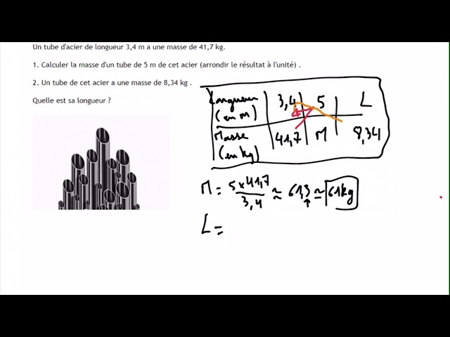 Proportionnalité et tube en acier - Exercices Maths Corrigés