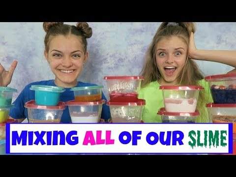 Mixing All of Our Slime ~ Huge Slime Smoothie ~ Jacy and Kacy