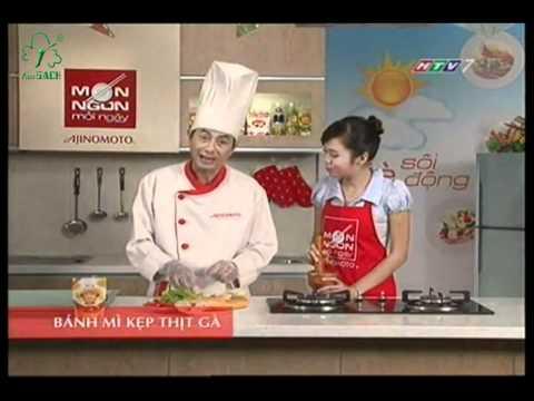 MON NGON MOI NGAY - BANH MI KEP THIT GA (CA CHUA, LOLO XANH)