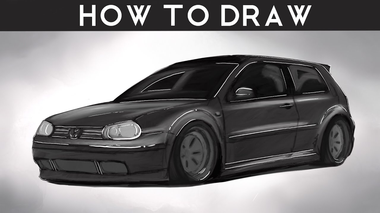 how to draw a vw golf mk4 step by step rr drawingpat youtube