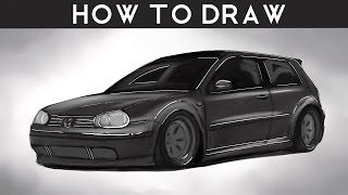 HOW TO DRAW a VW Golf Mk4 - Step by Step - RR | drawingpat