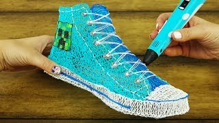 Minecraft Converse Shoes with Creeper DIY 3D Pen | 3D Pen Creation