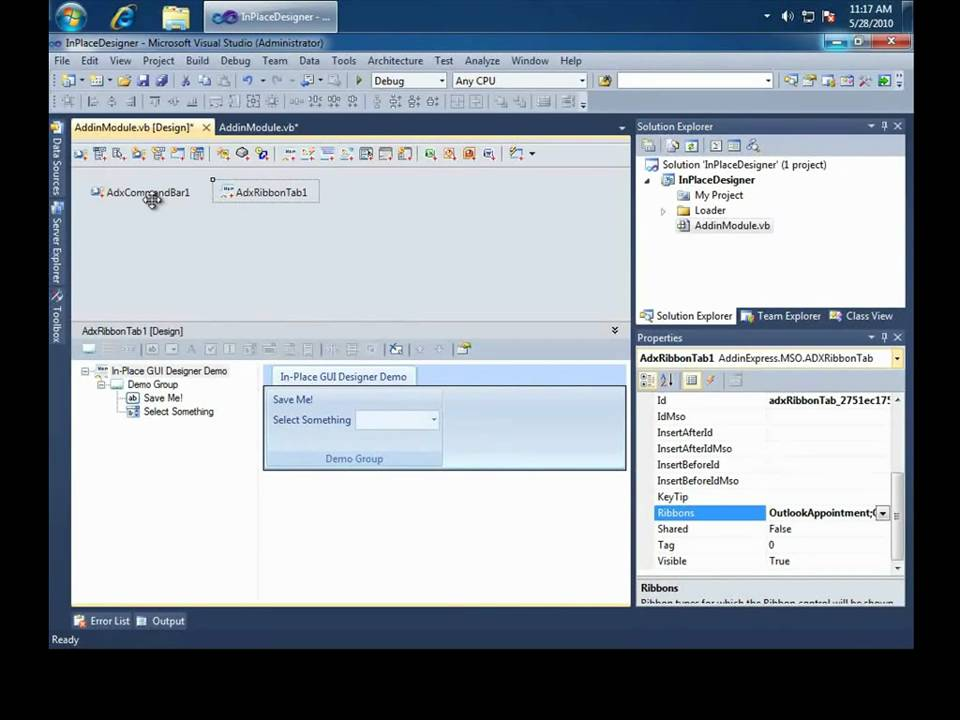 Office Outlook add-in development in Visual Studio: in-place GUI designers