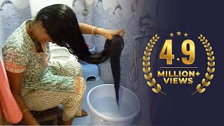 Repeat youtube video Rapunzel Washing & Drying her Below Knee Length Extra Thick Hair