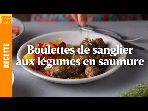 Boulettes de sanglier aux légumes en saumure