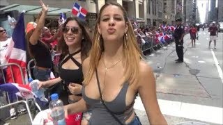BEAUTIFUL DOMINICAN REPUBLIC GIRL AT DOMINICAN REPUBLIC DAY PARADE NEW YORK 2017 NYC