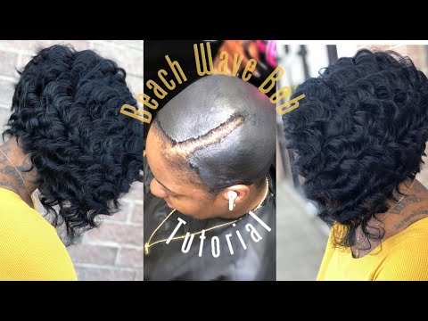 How to do a  Quickweave CURLY Beach wave bob  | No Leave Out On a Protective cap|  detailed Tutorial