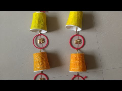 DIY making of Paper Cup Door Hanging | Easy & Beautiful Waste Tea Cup Craft | ಬಾಗಿಲು ತೋರಣ