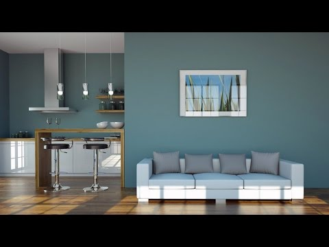 Light Blue Wall For Living Room And Kitchen