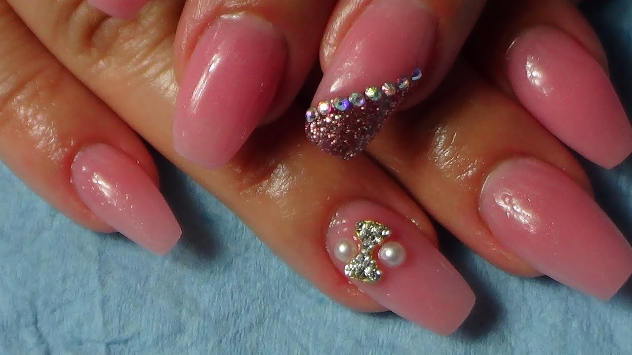 Ballerina/Coffin Acrylic Nails - YouTube