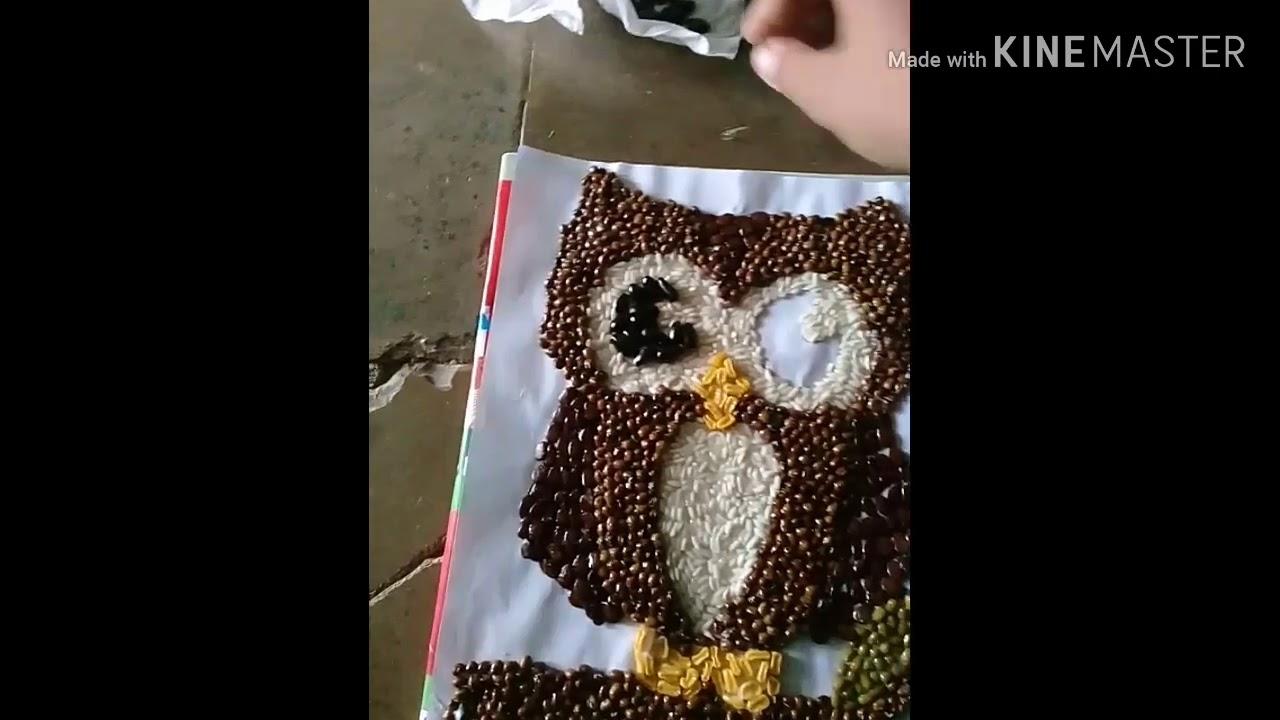 Lukisan Burung Hantu Menggunakan Biji Bijian Youtube