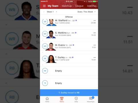 Set Lineup on 2016 Yahoo Fantasy Sports Mobile App