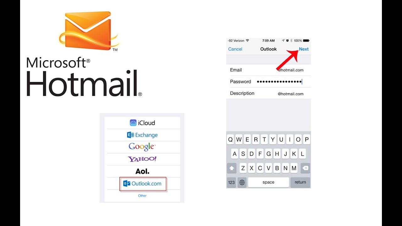 how to use hotmail email on iphone