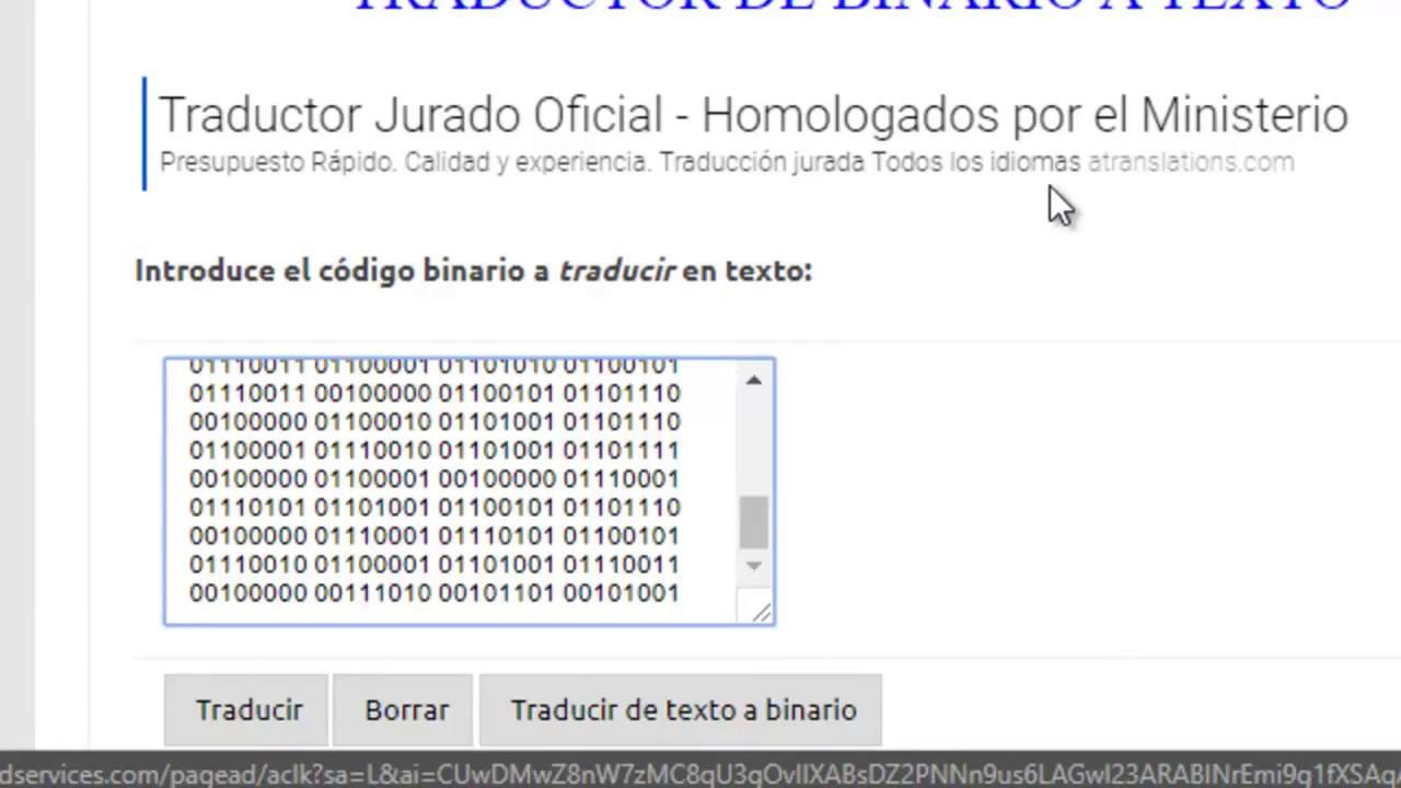 Texto en codigo binario
