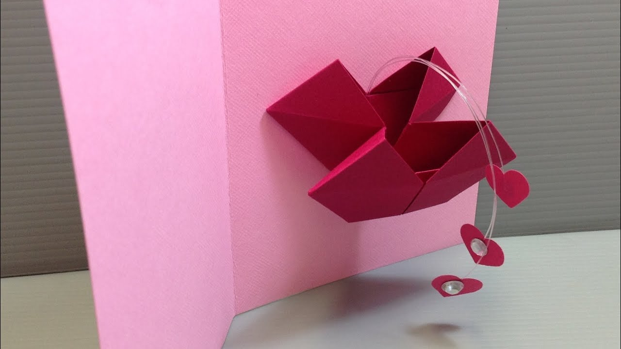 origami valentine popping heart card make your own youtube