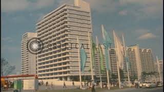 Buildings in the Olympic village during the 1972 Summer Olympics held in Munich, ...HD Stock Footage