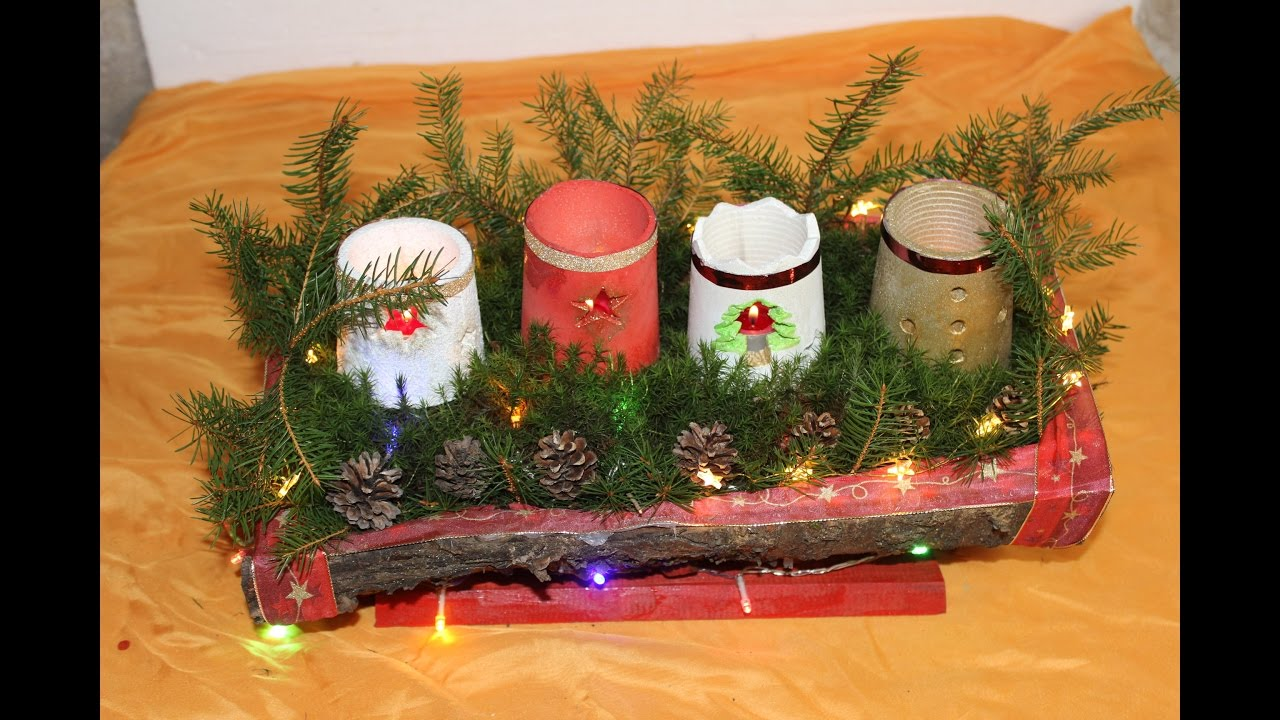 diy adventsschale aus baumrinde mit kerzenhalter aus gips youtube. Black Bedroom Furniture Sets. Home Design Ideas