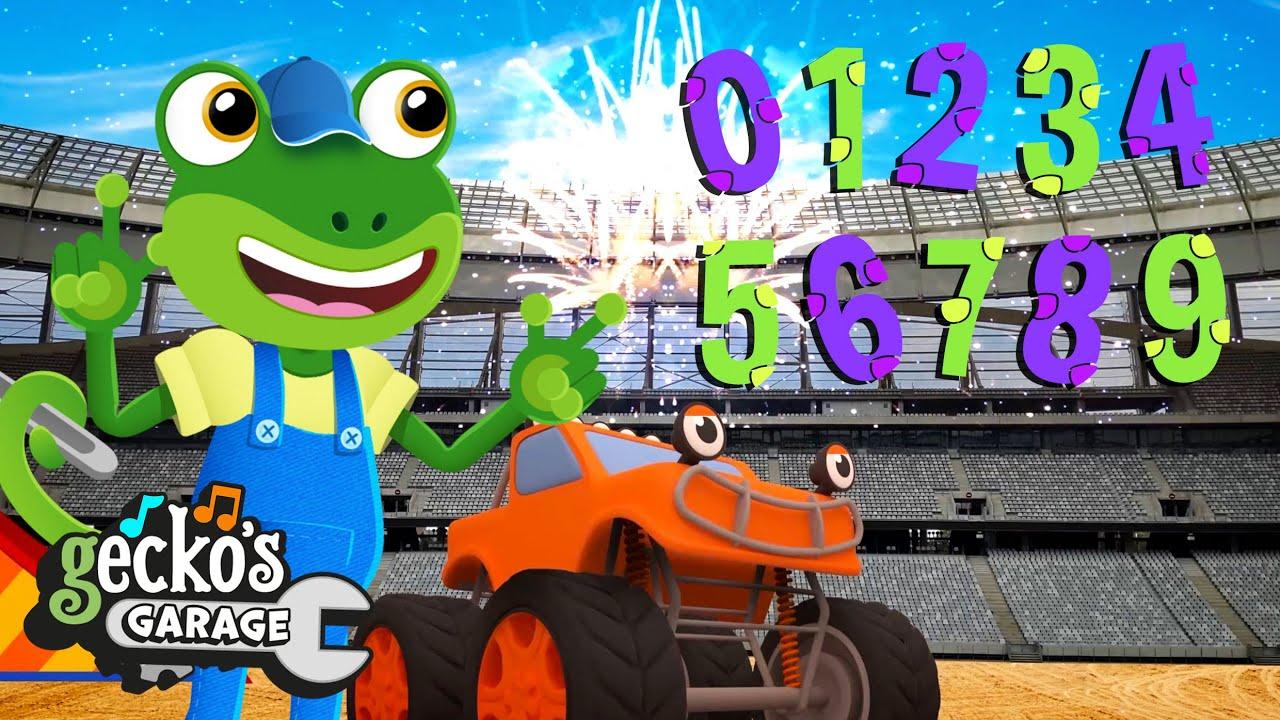 The Monster Truck Jumps 10 Big Trucks!   Gecko's Garage   Trucks For Children   Cartoons For Kids