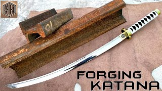 Rusted Railway Track Forged into a Beautiful KATANA