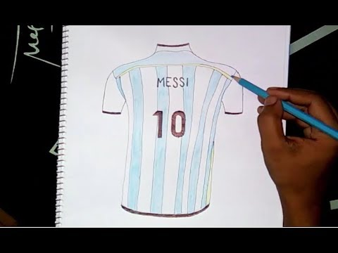 997a2be66 Messi s argentina jersey drawing - YouTube