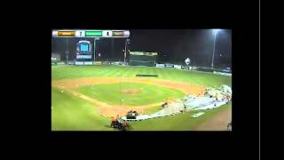 Tarp Attack: Minor league grounds crew swallowed up during severe thunderstorm Friday night