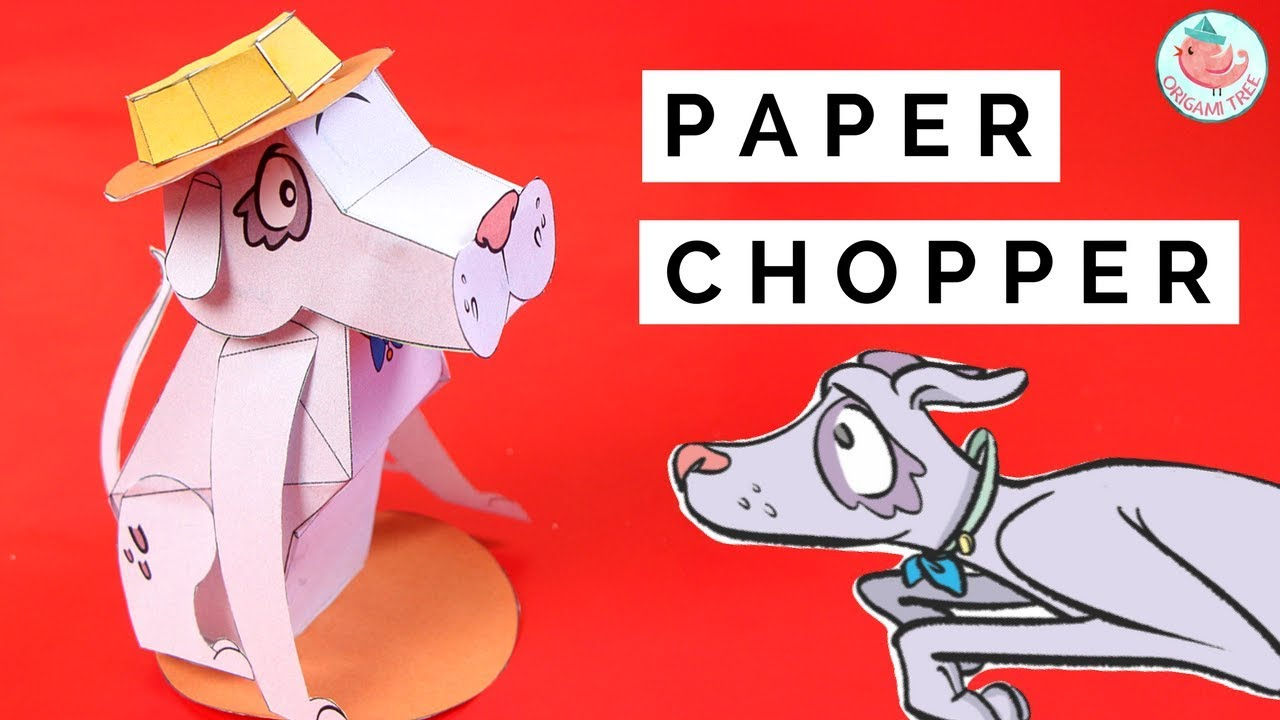 How to Make a 3D Paper Dog! FREE Printable Template ft  Paper Chopper from  the Bobs & Tweets Series