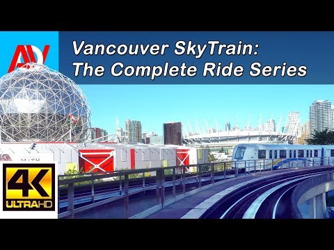 Vancouver SkyTrain Ride: Expo Line, from Commercial to Waterfront, Day - 4K