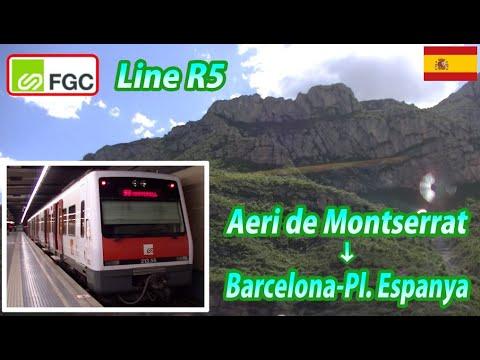 FGC / Line R5 / Aeri de Montserrat → Barcelona-Pl. Espanya (Passenger's View)