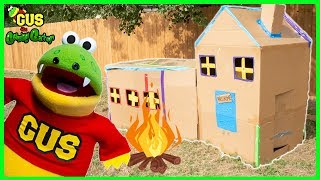 Pretend Play Box Fort and Camping with Gus