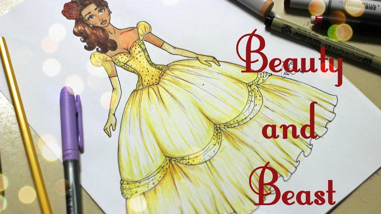 Desenho De Moda Inspiracao A Bela E A Fera Youtube