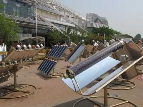 Commercial Solar kitchen using evacuated tubes / solar thermal to cook using the sun.wmv