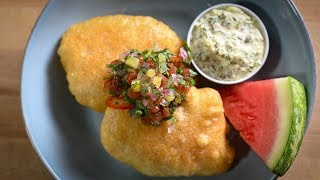 Fried Whitefish with Diced Watermelon Chutney and Watermelon Rind Tartar Sauce