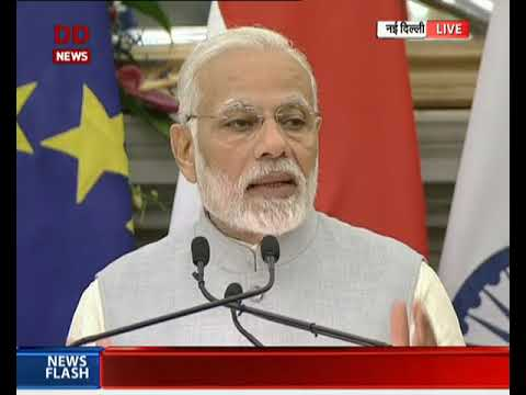 PM Modi delivers his speech at the joint press conference between India & Netherland