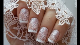 Белое кружево и французский маникюр / White lace manicure + french manicure