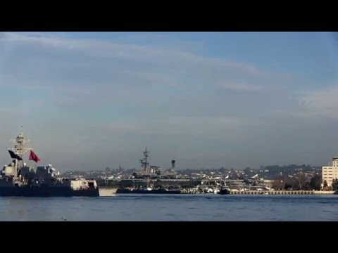 USS William P. Lawrence gets underway as part of Great Green Fleet