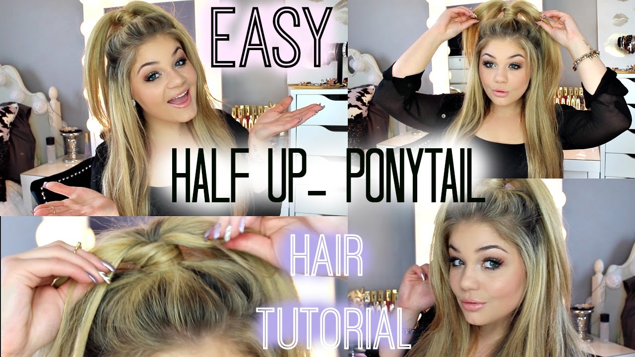 Half Up Ponytail Hair Tutorial | Blissfulbrii - YouTube