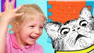 ЧЕЛЛЕНДЖ Кошка на стене  детская семейная игра про кошечку  Kids Family Challenge