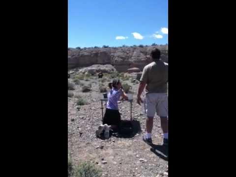 Me shooting the .22 rifle