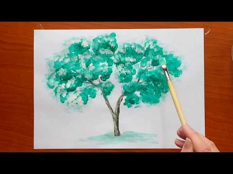 Как нарисовать дерево гуашью. Самое простое дерево, сможет каждый.