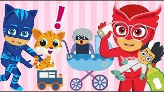 pj masks five little monkeys jumping on the bed nursery rhymes