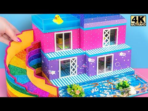 Build Modern Contemporary Villa And Water Slide To Aquarium ❤️ DIY Miniature Cardboard House #362