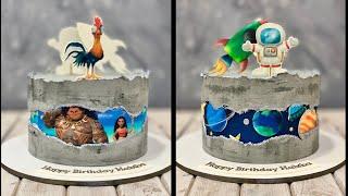 Moana & Maui Cake |  OuterSpace Cake | Fault Line Cake | Concrete Cake