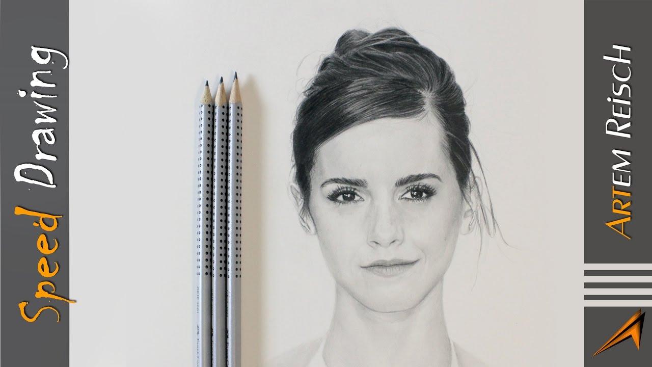 Timelapse drawing emma watson speed drawing pencil drawing