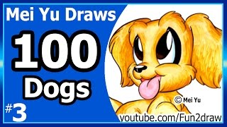 100 Drawings CHALLENGE - Mei Yu Draws 100 Dogs #3 - Golden Retriever   Fun2draw