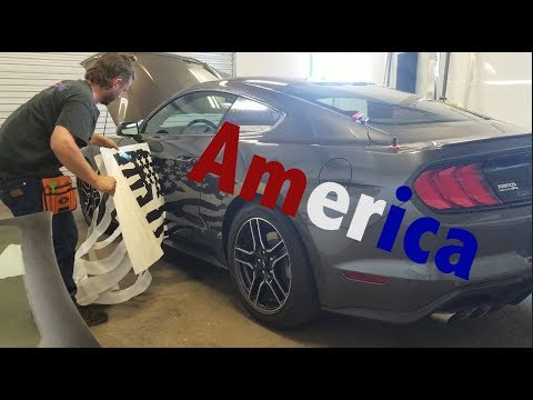HUGE Decal On This Ford Mustang. America!
