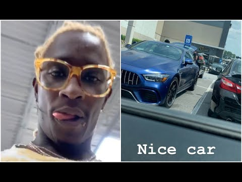 Young Thug Runs Into YFN Lucci At The Mall