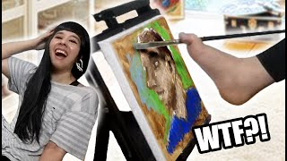 ❤Painting My Fiancé's Portrait With MY FEET (Part 1)❤