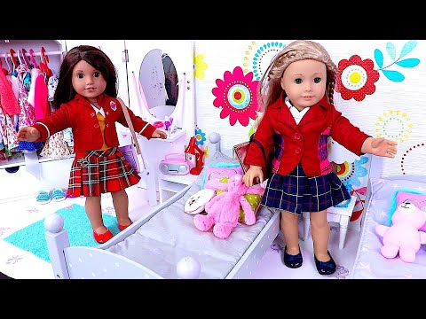 Baby Doll Sisters School Morning Routine Dress up Toys!