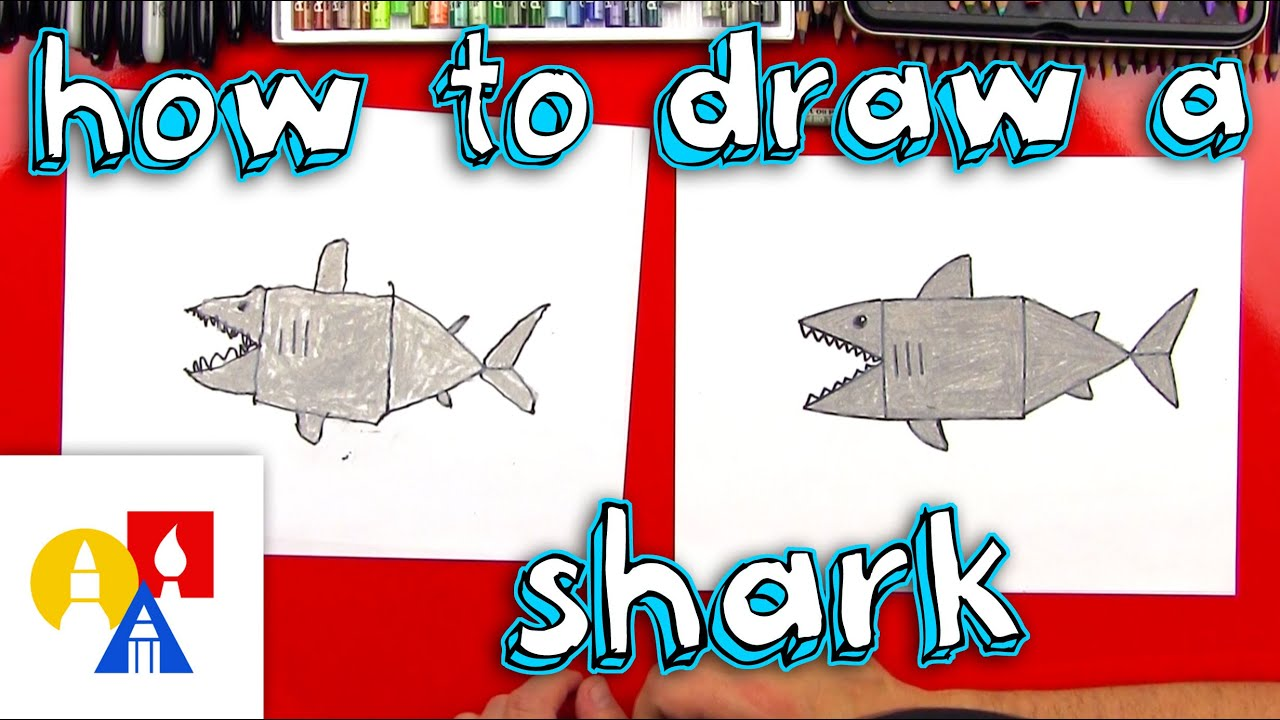 How to draw a shark with shapes young artists