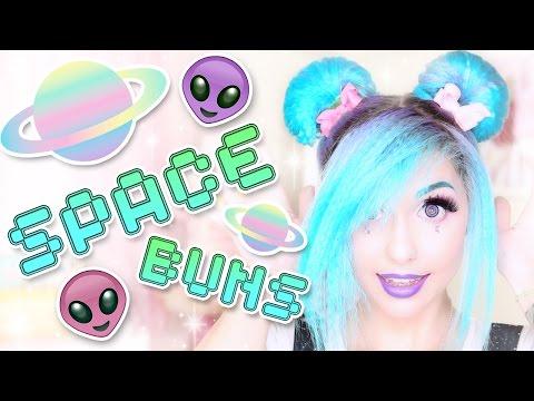 CRIMPED SPACE BUNS HAIR TUTORIAL